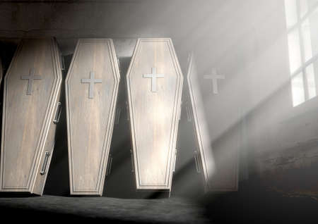 coffins: A row of upright wooden coffins against a wall in a dilapidated room lit by light through a window - 3D Render- 3D Render