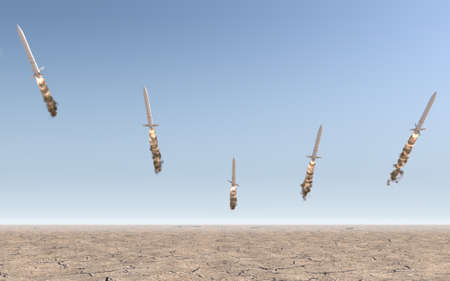 A row of intercontinental ballistic missiles launching in a desert on a blue sky backgrund - 3D render Stock Photo