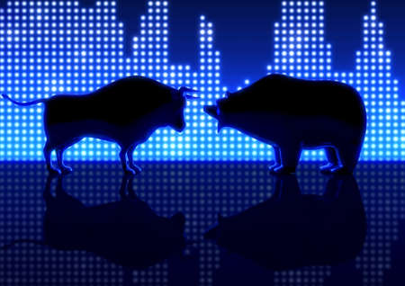 Two castings depicting a stylized bull and a bear silhouetted on an LED statistic graph background - 3D render