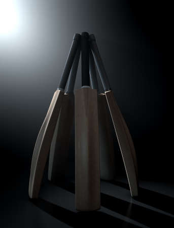 backlit: A circular array of generic cricket bats on a dark dramatic backlit background - 3D render Stock Photo