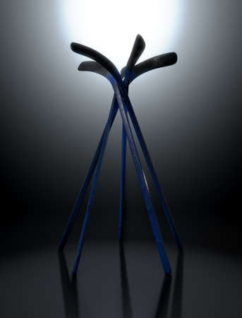 backlit: A circular array of blue and black ice hockey sticks on a dark dramatic backlit background - 3D render