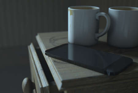 worn: A real life concept scene showing a bed side table with dirty coffee mugs and a generic smartphone at night - 3D Render