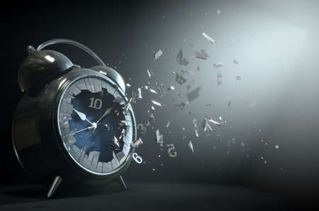 An old worn  metal vintage desk clock with its numbers smashing through the glass screen on a dramtic spotlit background- 3D Render