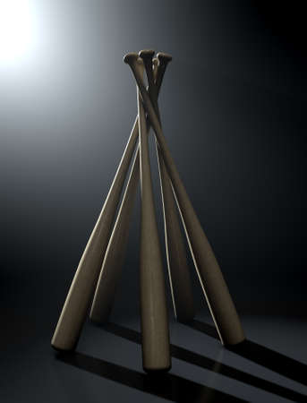 backlit: A circular array of generic baseball bats on a dark dramatic backlit background - 3D render