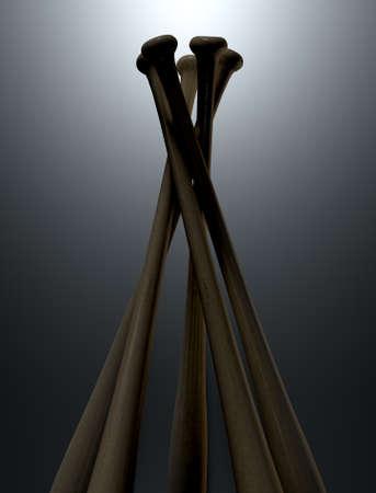 A circular array of generic baseball bats on a dark dramatic backlit background - 3D render