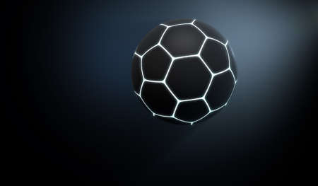 pioneering: A futuristic sports concept of a black textured soccer ball lit with neon markings flying through dark space - 3D render Stock Photo