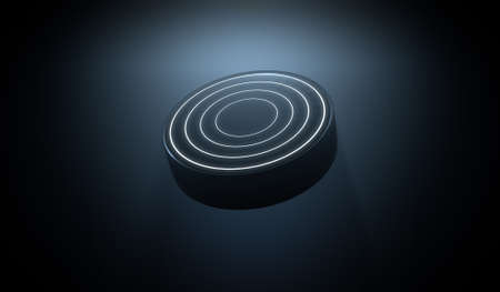 pioneering: A futuristic sports concept of a black textured hockey puck lit with neon markings flying through dark space - 3D render