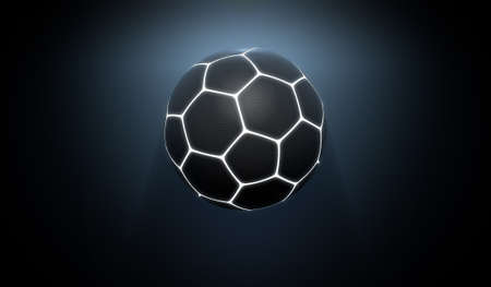 A futuristic sports concept of a black textured soccer ball lit with neon markings flying through dark space - 3D render Stock Photo