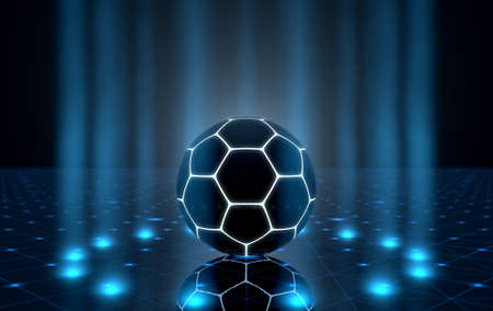 tetra: A futuristic sports concept of a soccer ball lit with neon markings on a futuristic spotlit stage - 3D render