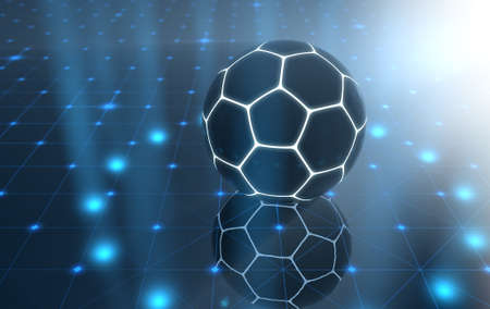A futuristic sports concept of a soccer ball lit with neon markings on a futuristic spotlit stage - 3D render