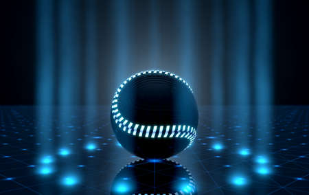 A futuristic sports concept of a baseball ball lit with neon markings on a futuristic spotlit stage - 3D render
