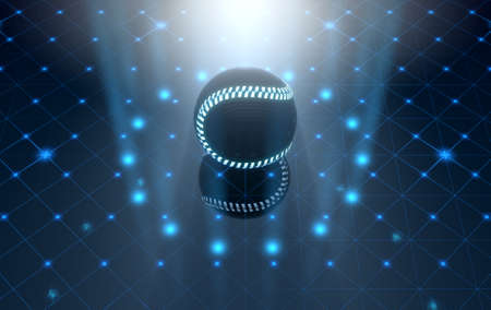 pioneering: A futuristic sports concept of a baseball ball lit with neon markings on a futuristic spotlit stage - 3D render
