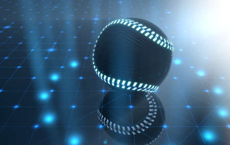 developed: A futuristic sports concept of a baseball ball lit with neon markings on a futuristic spotlit stage - 3D render