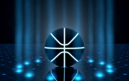 A futuristic sports concept of a basketball ball lit with neon markings on a futuristic spotlit stage - 3D render