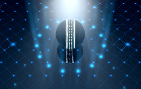 developed: A futuristic sports concept of a cricket ball lit with neon markings on a futuristic spotlit stage - 3D render