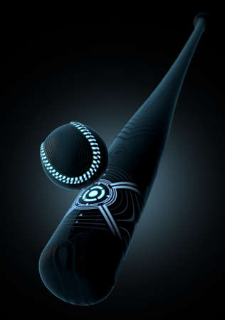 A futuristic sports concept of a futurist baseball bat and ball connecting on an isolated dark background - 3D render Stock Photo