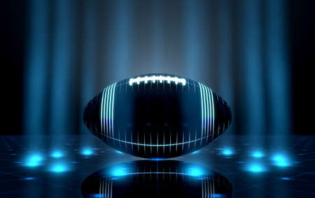 A futuristic sports concept of an amarican football  ball lit with neon markings on a futuristic spotlit stage - 3D render Stock Photo