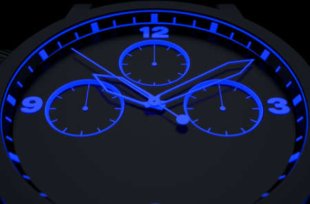 hands  hour: A macro closeup of a modern neon blue lit watch face in black - 3D render