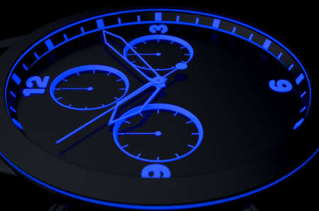 A macro closeup of a modern neon blue lit watch face in black - 3D render