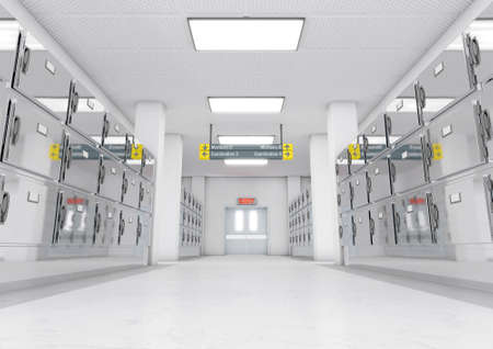 A look down the aisle of fridges in a clean white ward in a mortuary - 3D render Stock Photo