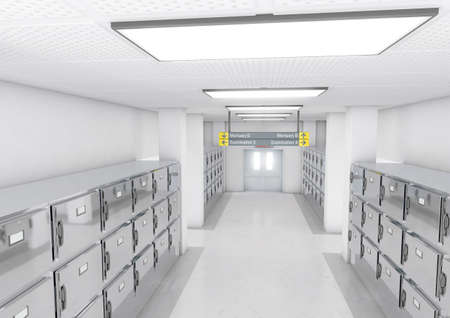 A look down the aisle of fridges in a clean white ward in a mortuary - 3D render 版權商用圖片