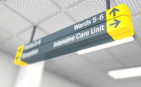 A ceiling mounted hospital directional sign highlighting the way towards the intensive care unit - 3D render