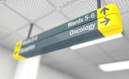 A ceiling mounted hospital directional sign highlighting the way towards the oncology ward - 3D render
