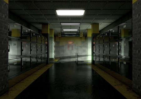 Kijk naar de gang van koelkasten van een dim verlichte wijk in een mortuarium met een lege gerney in de verte - 3D render