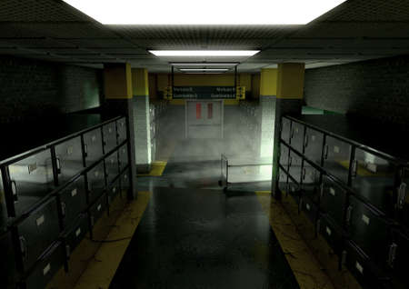dimly: A look down the aisle of fridges of a dimly lit ward in a mortuary with an empty gerney in the distance - 3D render