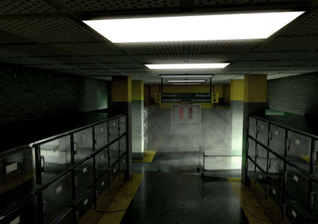 A look down the aisle of fridges of a dimly lit ward in a mortuary with an empty gerney in the distance - 3D render