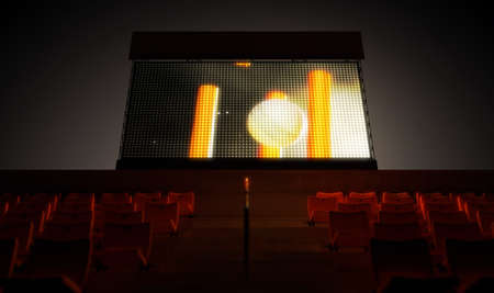 밤 시간 -3D 렌더링에서 스탠드에서 크리켓 재생을 보여주는 조명 된 경기장 큰 화면