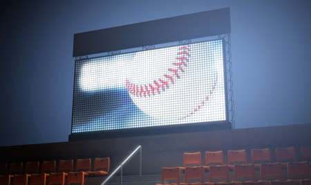 3d ball: An illuminated stadium big screen showing a baseball replay in the stands in the night time - 3D render Stock Photo