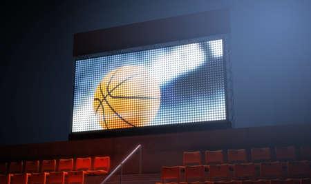 조명 된 경기장 밤 시간 -3D 렌더링에 스탠드에서 농구 재생을 보여주는 큰 화면 스톡 콘텐츠
