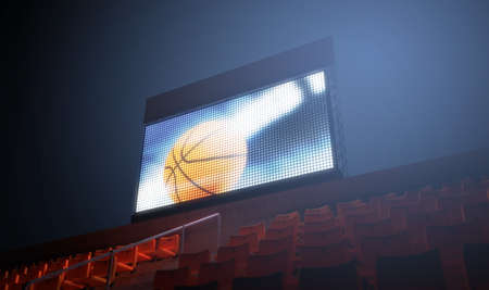 3d ball: An illuminated stadium big screen showing a basketball replay in the stands in the night time - 3D render Stock Photo