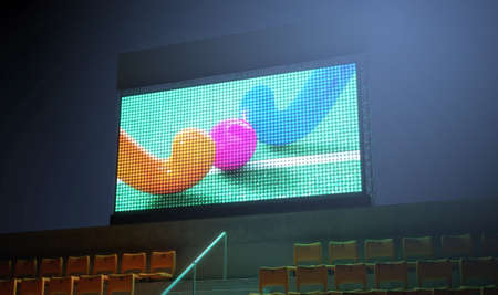 3d ball: An illuminated stadium big screen showing a hockey replay in the stands in the night time - 3D render