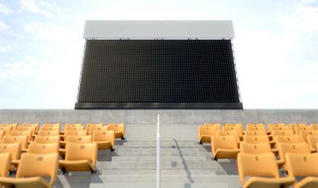 Een leeg stadion groot scherm boven de tribunes in de dagtijd - 3D geef terug