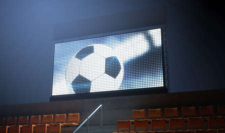 3d ball: An illuminated stadium big screen showing a soccer replay in the stands in the night time - 3D render