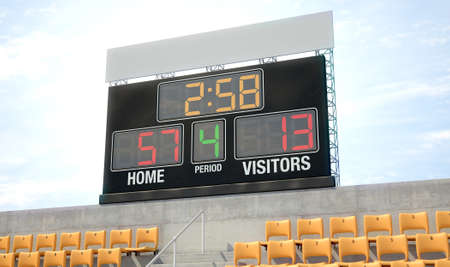 A stadium scoreboard screen above the stands in the day time showing the home side winning - 3D render