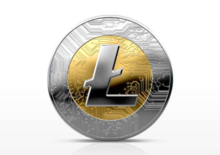 A physical litecoin cryptocurrency in gold and silver coin form on a dark studio background- 3D render Фото со стока