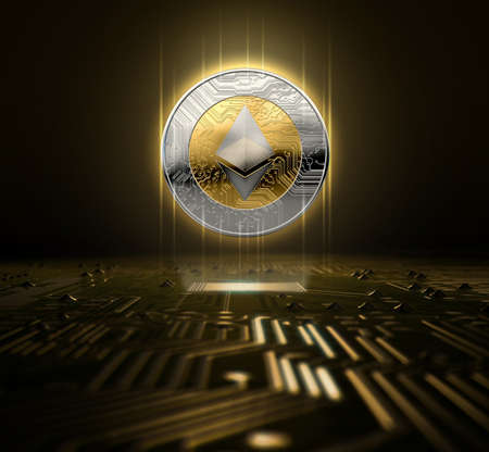 A ethereum cryptocurrency hologram in gold and silver physical coin form hovvering over a computer circuit board- 3D render Stock Photo