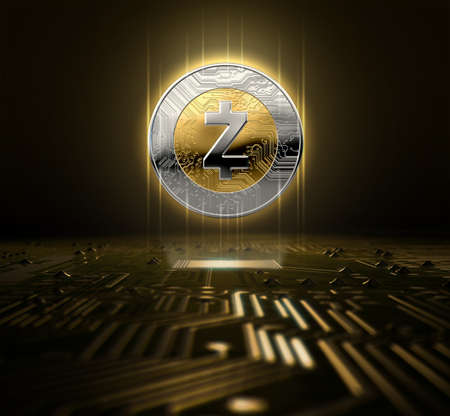 A zcash cryptocurrency hologram in gold and silver physical coin form hovvering over a computer circuit board- 3D render Zdjęcie Seryjne