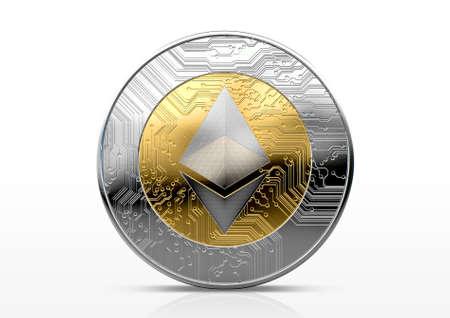 Une cryptocurrency éthérée physique en forme de pièce d'or et d'argent sur un arrière-plan de studio sombre rendu 3D Banque d'images - 84959934