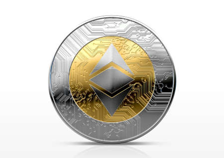 A physical ethereum classic cryptocurrency in gold and silver coin form on a dark studio background- 3D render Zdjęcie Seryjne