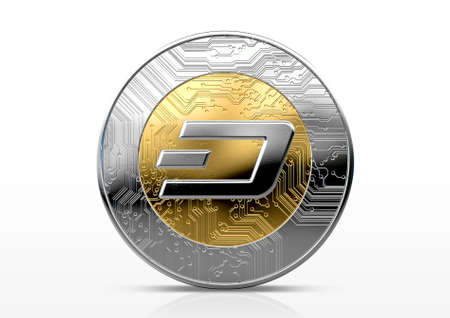 A physical dash cryptocurrency in gold and silver coin form on a dark studio background- 3D render
