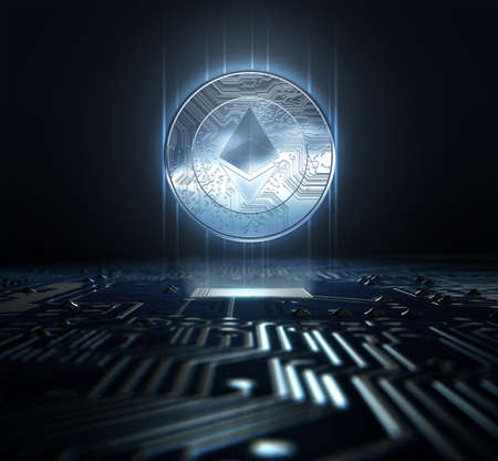 A ethereum cryptocurrency hologram coin form hovvering over a computer circuit board- 3D render Stock Photo - 85194079