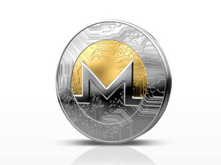 A physical monero cryptocurrency in gold and silver coin form on a dark studio background- 3D render