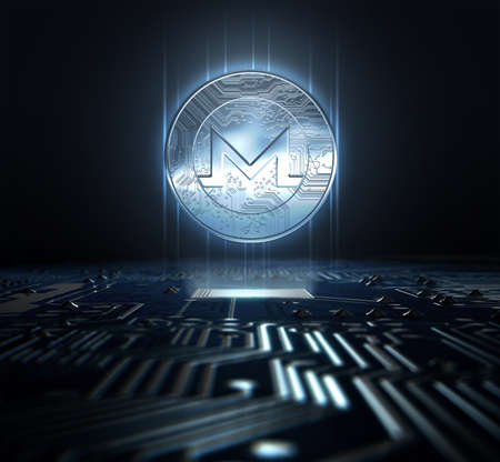 A monero cryptocurrency hologram coin form hovvering over a computer circuit board- 3D render