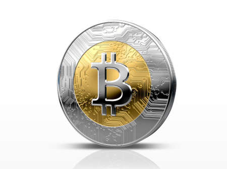 A physical bitcoin cryptocurrency in gold and silver coin form on a dark studio background- 3D render Stockfoto