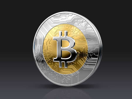 A physical bitcoin cryptocurrency in gold and silver coin form on a dark studio background- 3D render Stock Photo