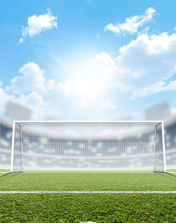 A soccer sports stadium with a marked green grass pitch and soccer goals in the daytime under a blue sky - 3D render
